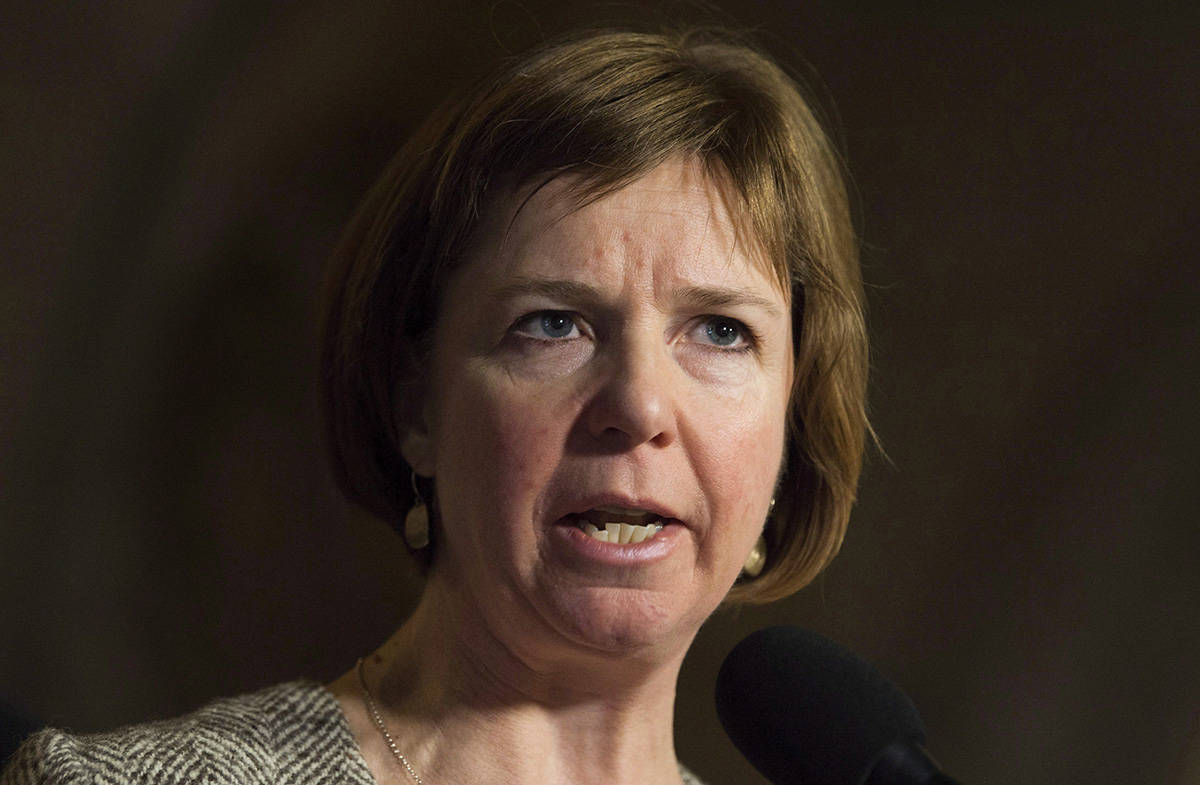 NDP MP Sheila Malcolmson speaks with the media about her private members bill regarding abandoned vessels, in Ottawa on Thursday, November 30, 2017. THE CANADIAN PRESS/Adrian Wyld
