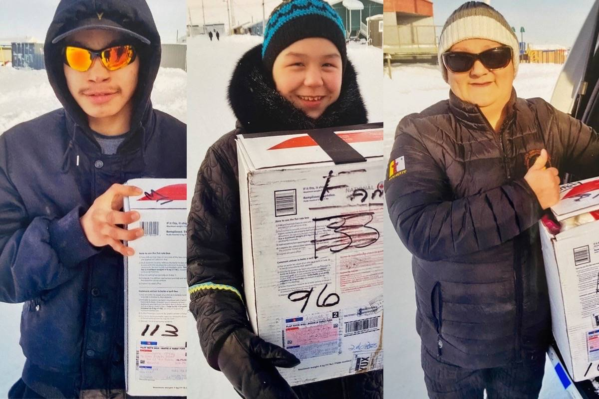 Susan Richards de Wit shared these photos of a Nunavut family who received care packages she sent from South Surrey. (Contributed photos)