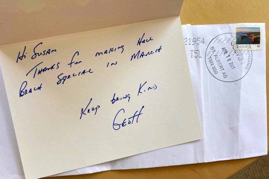 A thank you card from Const. Geoff McKay for gifts sent to Nunavut. (Contributed photo)