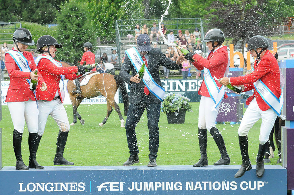 Team Canada celebrated after winning the 2019 Longines FEI Jumping Nations Cup at Thunderbird show park in Langley, which has just announced the 2021 version of the event will not proceed. (Langley Advance Times file)