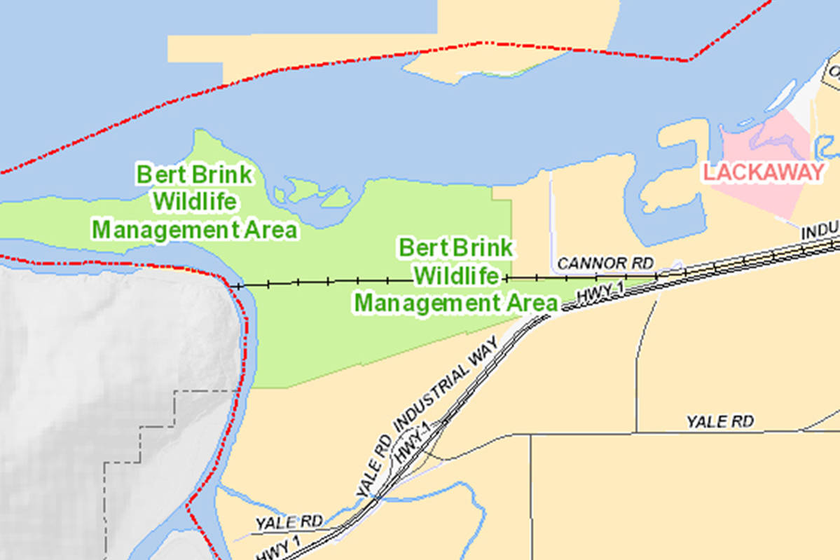 Map showing the Bert Brink Wildlife Management Area in Chilliwack. (City of Chilliwack map)