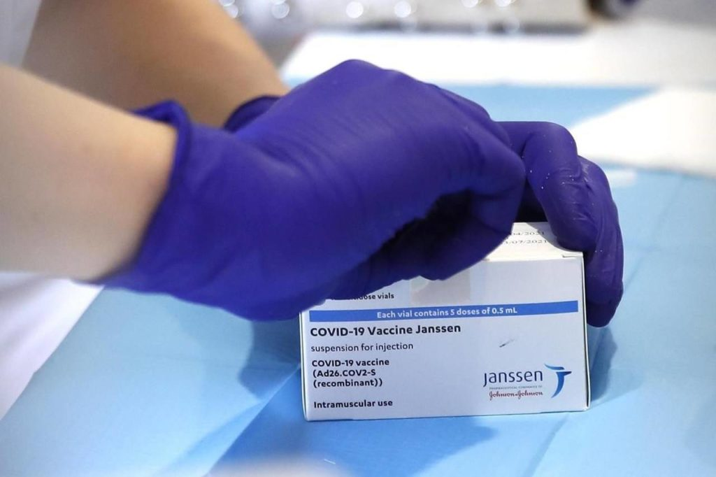 A health worker opens a box of the Janssen vaccine by Johnson & Johnson, during a COVID-19 vaccination campaign at the Vela vaccination center, near Tor Vergata hospital in Rome, Saturday, April 24, 2021. THE CANADIAN PRESS/AP-Alessandra Tarantino