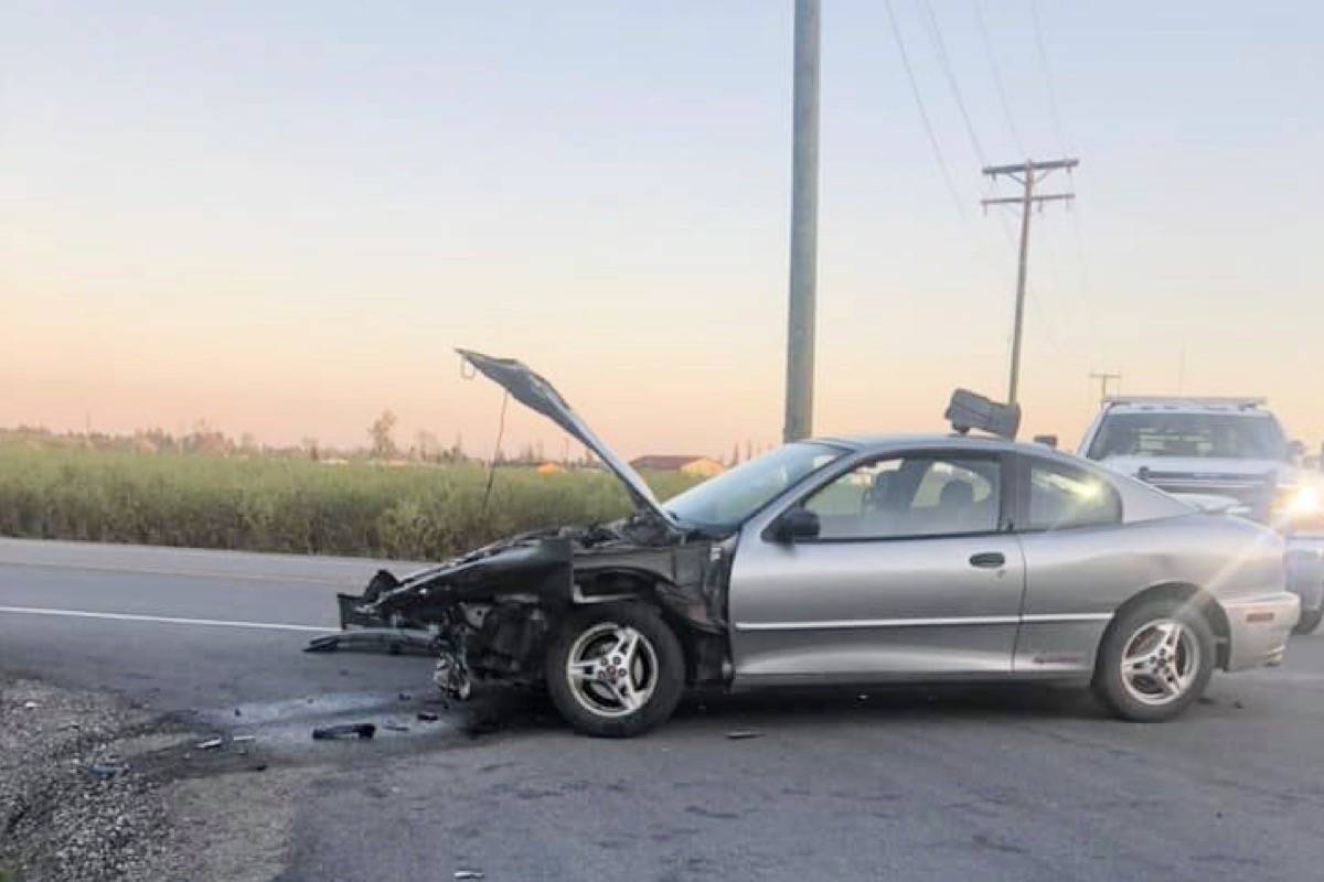 A motorcyclist and a sedan collided at the intersection of Hale Road and Old Dewdney Trunk Road in Pitt Meadows Thursday evening. (Special to The News)