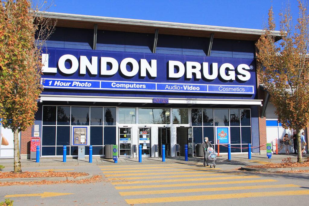 A customer leaves London Drugs in Cloverdale on October 6, 2020. (Malin Jordan)