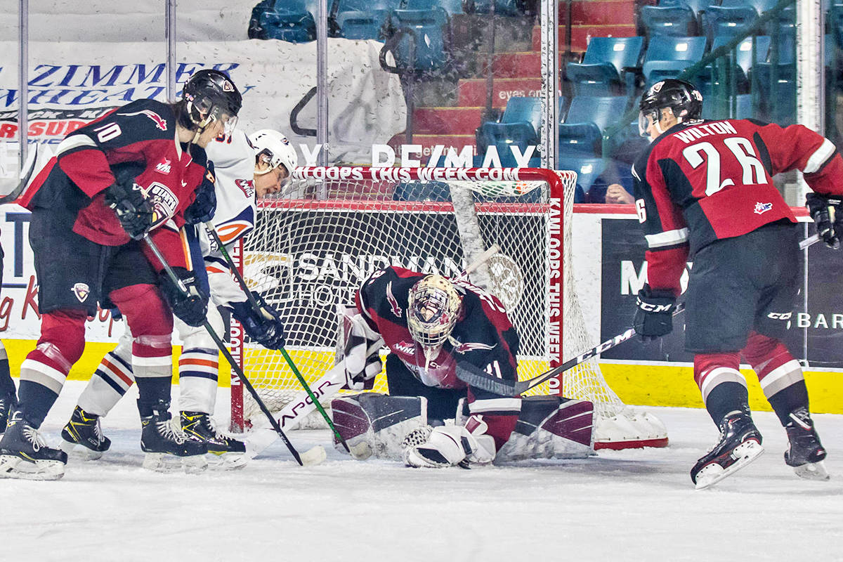 Trent Miner made 22 saves for Vancouver Giants Tuesday, April 27, during a 2-1 loss to Kamloops (Tricia Mercuri/Special to Black Press Media)