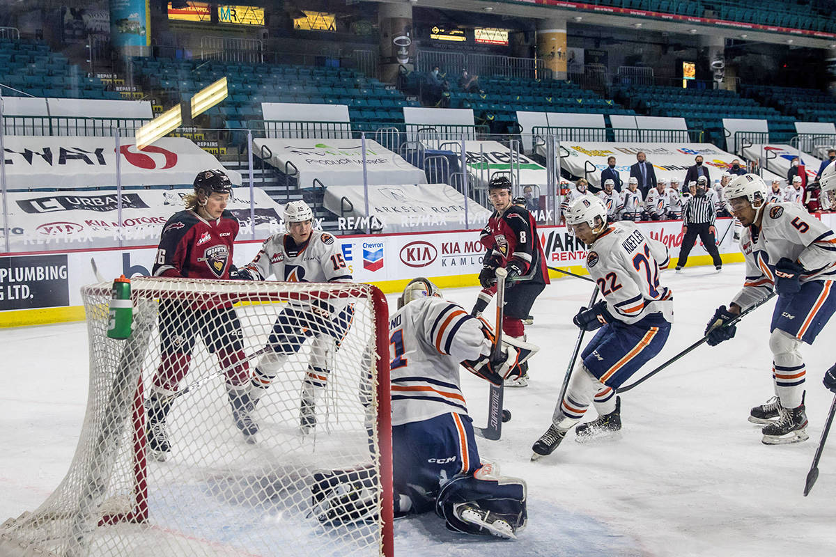 Tuesday night, April 27, at the Sandman Centre in Kamloops, the Vancouver Giants dropped a hard-fought 2-1 decision to the Kamloops Blazers (Tricia Mercuri/Special to Black Press Media)