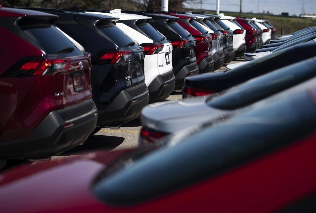 New Toyota RAV4 crossover SUVs for sale are seen at an auto mall in Ottawa, on Monday, April 26, 2021. THE CANADIAN PRESS/Justin Tang