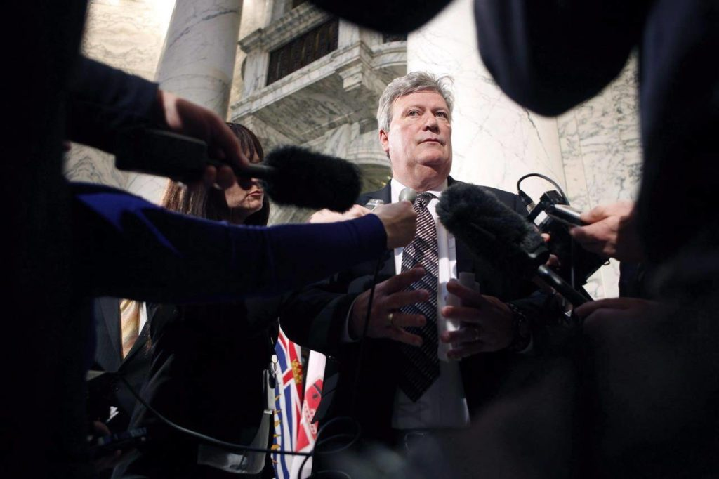 Former B.C. Liberal cabinet minister, Rich Coleman, who was the minister responsible for gaming for more than a decade is set to testify today at the money laundering public inquiry. THE CANADIAN PRESS/Chad Hipolito