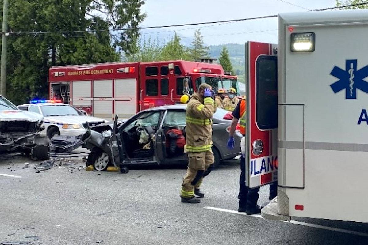 Mounties came upon the aftermath of a head-on collision involving two vehicles Wednesday (April 28) shortly after 3 p.m. on Canada Way and Hazelmere Street. (Burnaby RCMP)