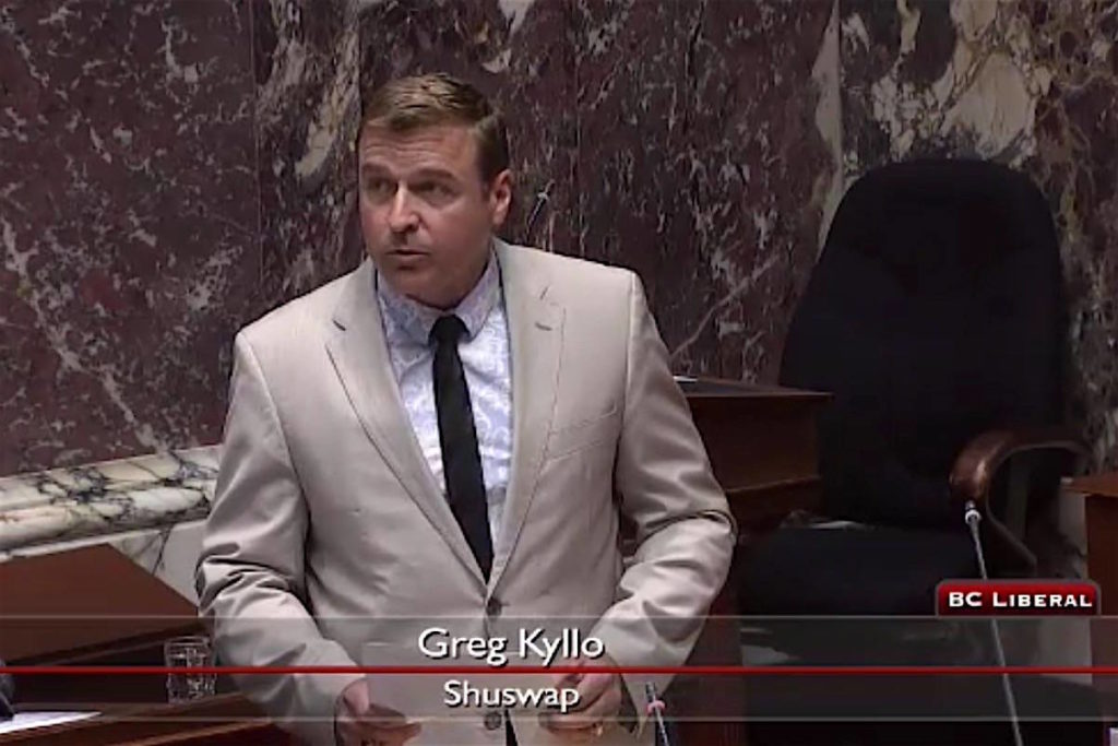 Shuswap MLA Greg Kyllo is the B.C. Liberal labour critic. (Hansard TV)