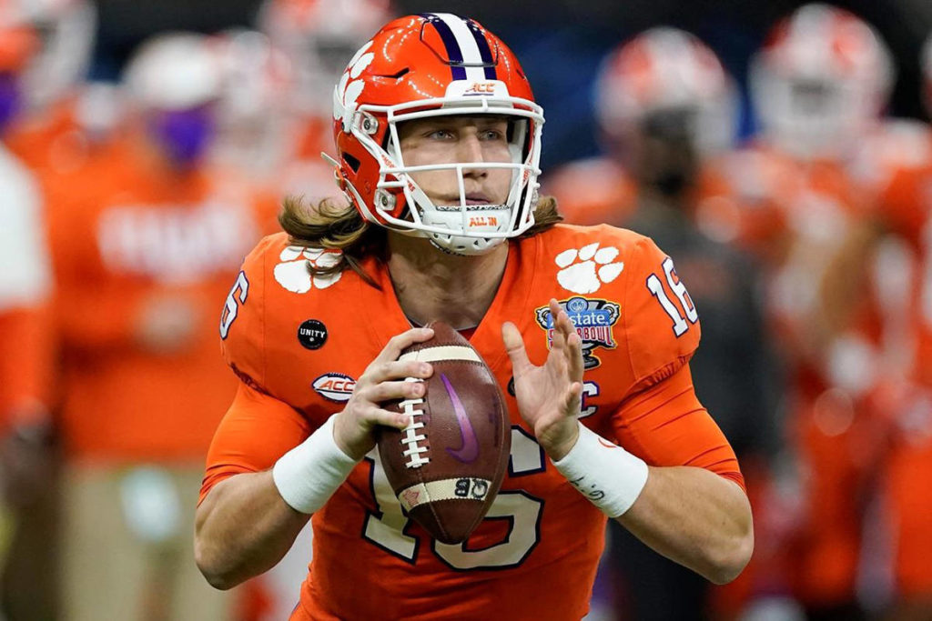 Clemson quarterback Trevor Lawrence passes against Ohio State during the first half of the Sugar Bowl NCAA college football game in New Orleans, in this Friday, Jan. 1, 2021, file photo. (AP Photo/John Bazemore, File)