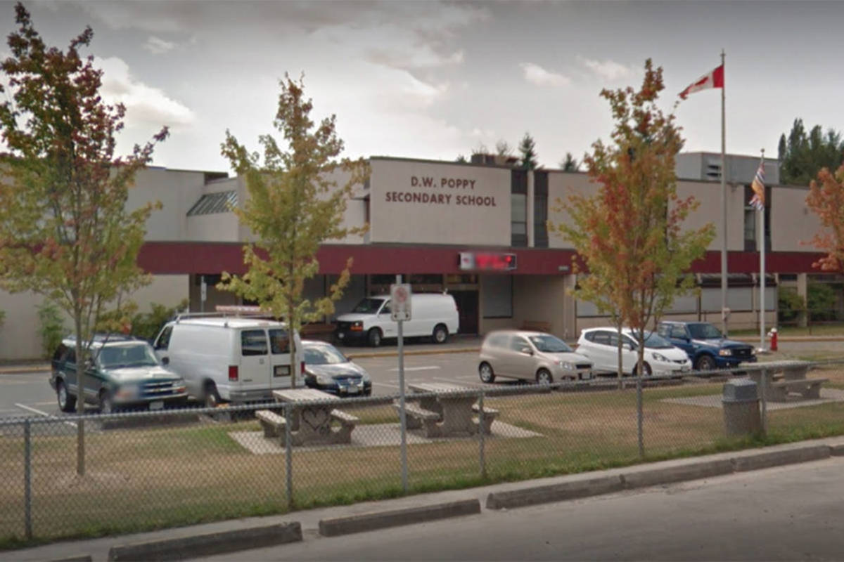 D.W. Poppy Secondary is the latest school added to Fraser Health's list of school exposures in Langley. (Google)