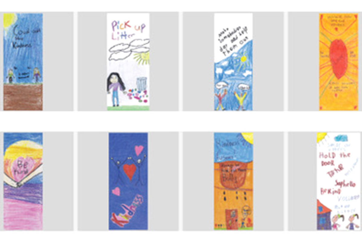 Some of the banners that students at Shortreed Community Elementary and Parkside Centennial Elementary drew for the Aldergrove Business Association. (Special to The Star)
