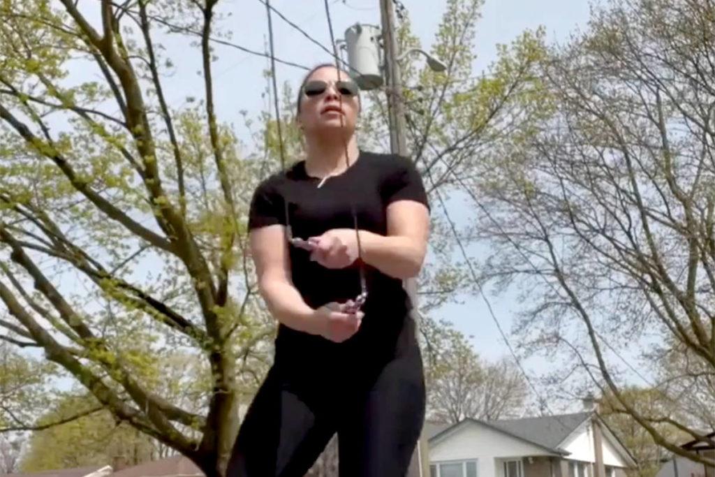 Taveena Kum jumps rope for Shortreed Elementary. (Screenshot)