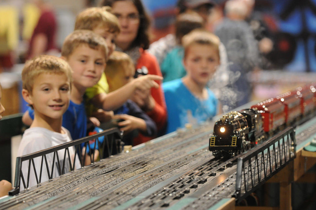 People watch a train go by during the 17th annual Mount Cheam Lions Train and Hobby Show at Chilliwack Heritage Park on Oct. 18, 2014. Saturday, May 8 is Train Day. (Jenna Hauck/ Chilliwack Progress file)