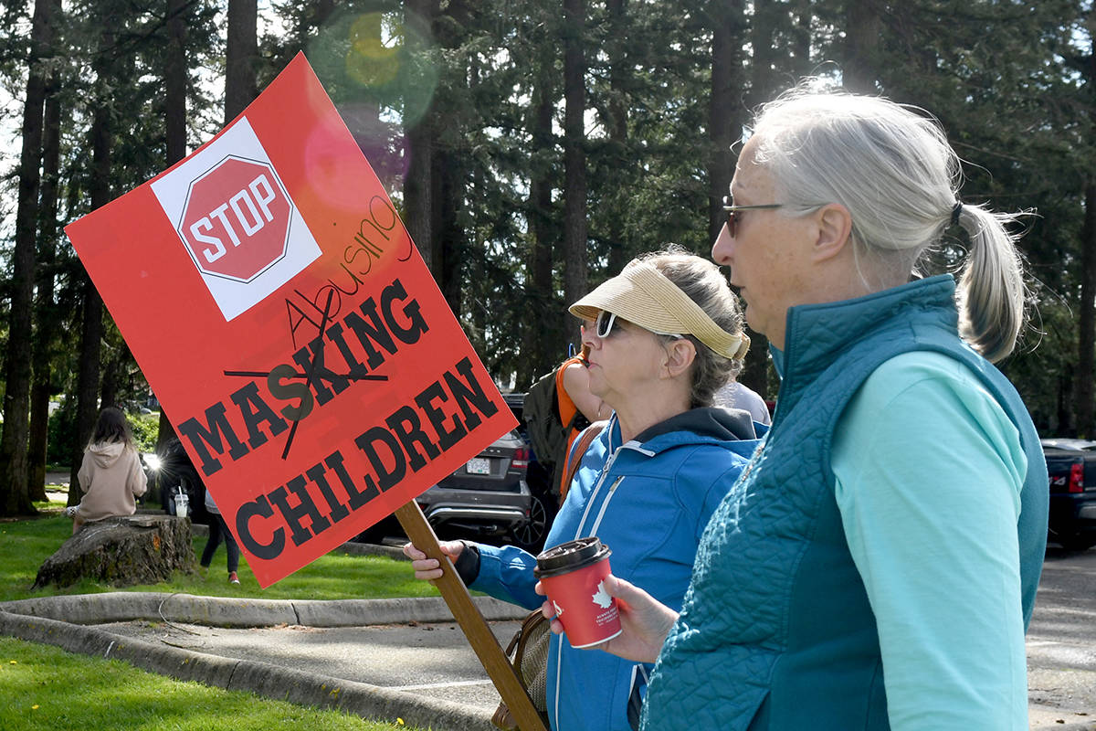 The Unmask Our Children group held a protest in Abbotsford on Friday afternoon. (John Morrow/Abbotsford News)