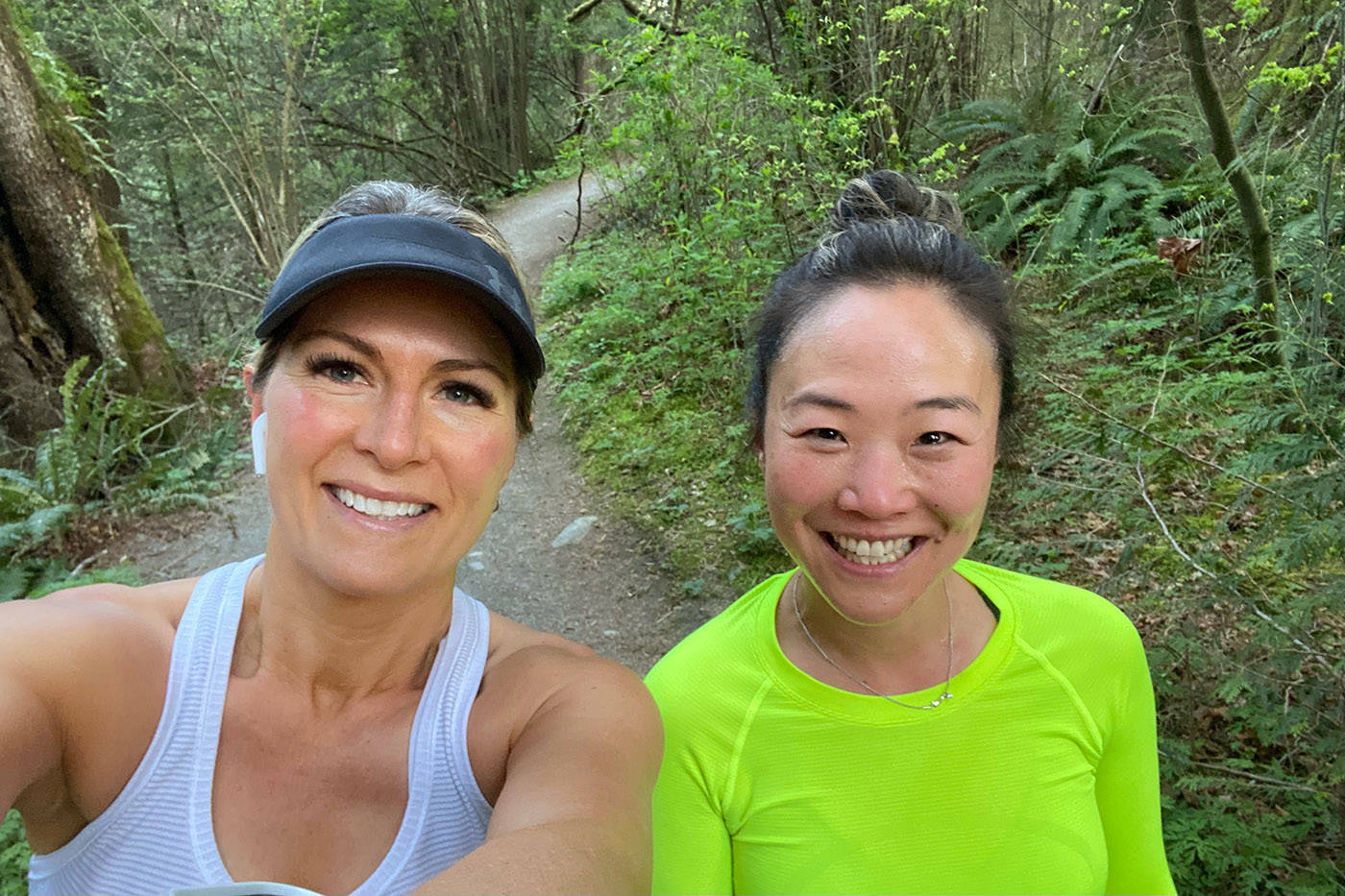 April Migneault of Maple Ridge, seen here with her running friend Hannah Baerg, has run every day in April (and also increased the distance of each run by one kilometre each day) for a total of 465 kilometres in 30 days. It's how she chose to raise money for her friend, Dave Corke of Chilliwack, who has leukaemia. (Facebook/ April Migneault)