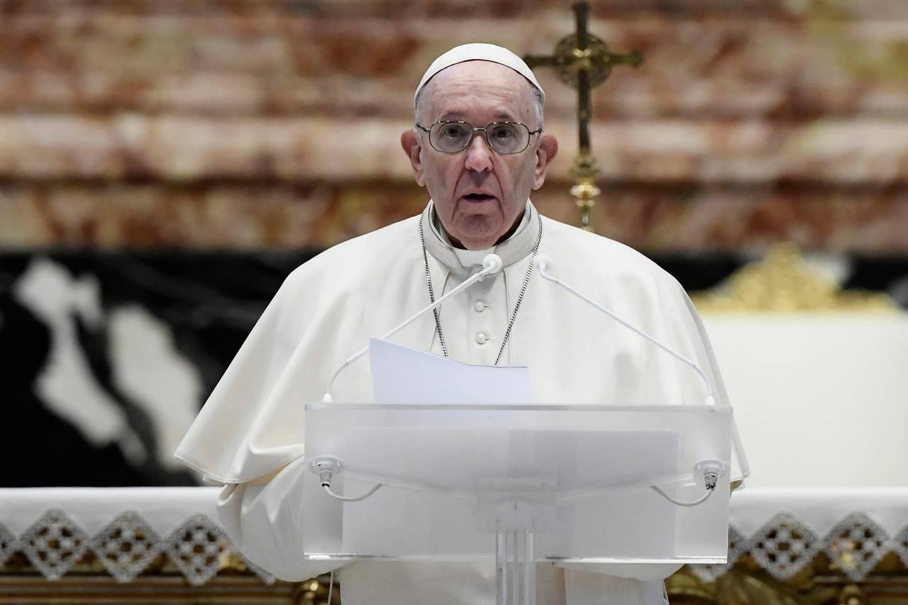Pope Francis speaking during the coronavirus pandemic. (Filippo Monteforte/AP)