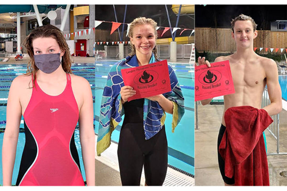 Katie Schroeder, Bailey Herbert and Hugh McNeil racked up multiple wins as Langley Olympian Swim Club took fourth in the B.C. virtual provincial competition (file)