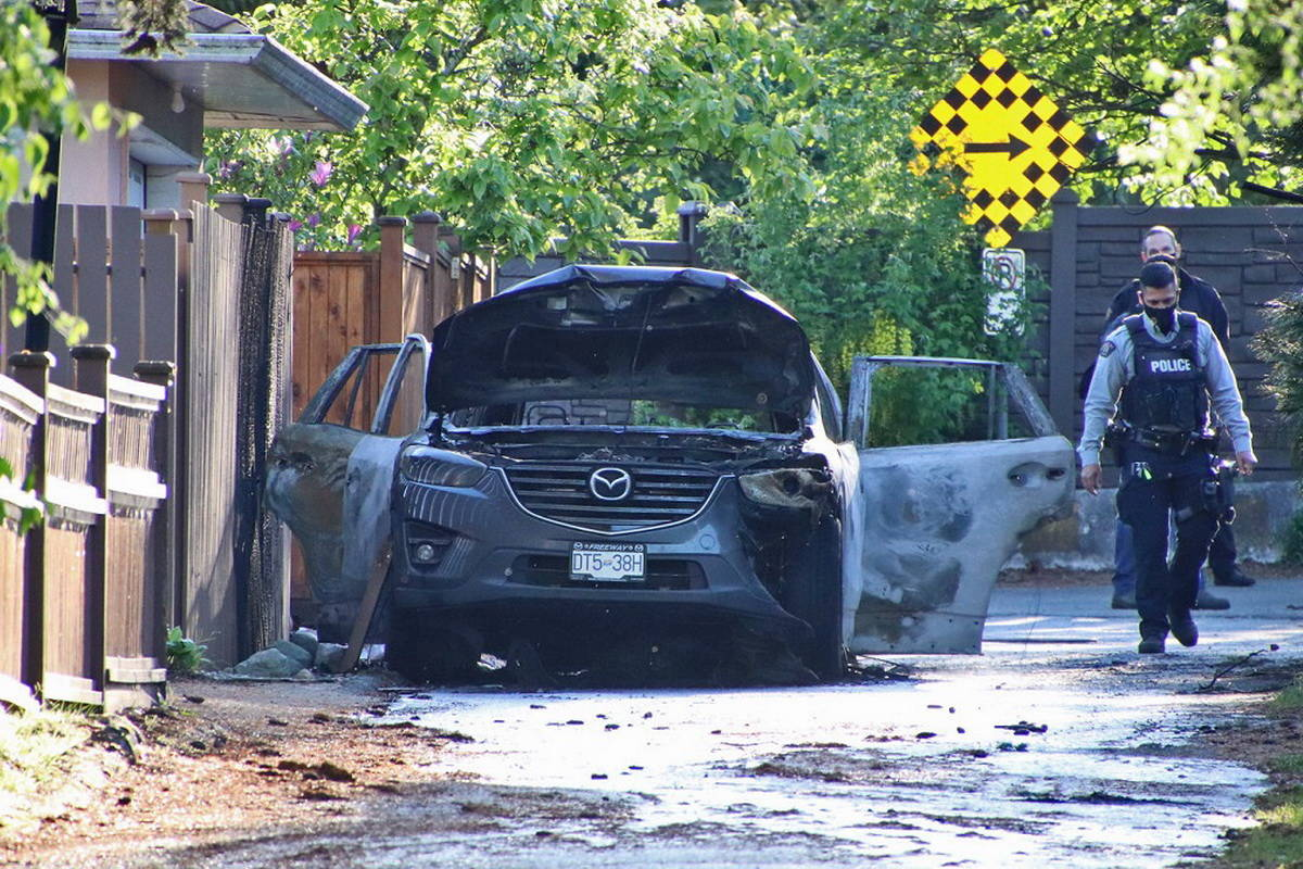 Fire crews in Burnaby responded to a vehicle fire on Saturday, May 1, 2021. It is not yet known whether the incident is related to a shooting near Scottsdale Centre in North Delta that same day. (Shane MacKichan photo)