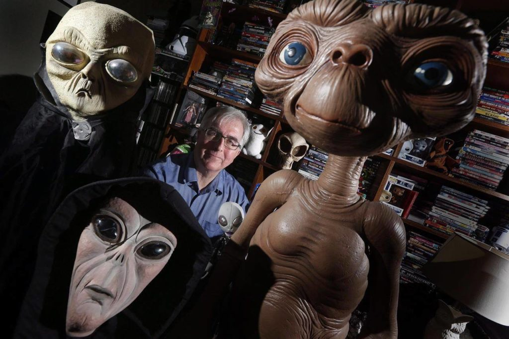 Chris Rutkowski, Canada's foremost UFO expert, is photographed in his Winnipeg home on Saturday, Oct. 29, 2016. Canadians are watching the skies more during the pandemic, which has led to a growing interest in astronomy and unusual calls to RCMP 911 dispatchers. THE CANADIAN PRESS/John Woods