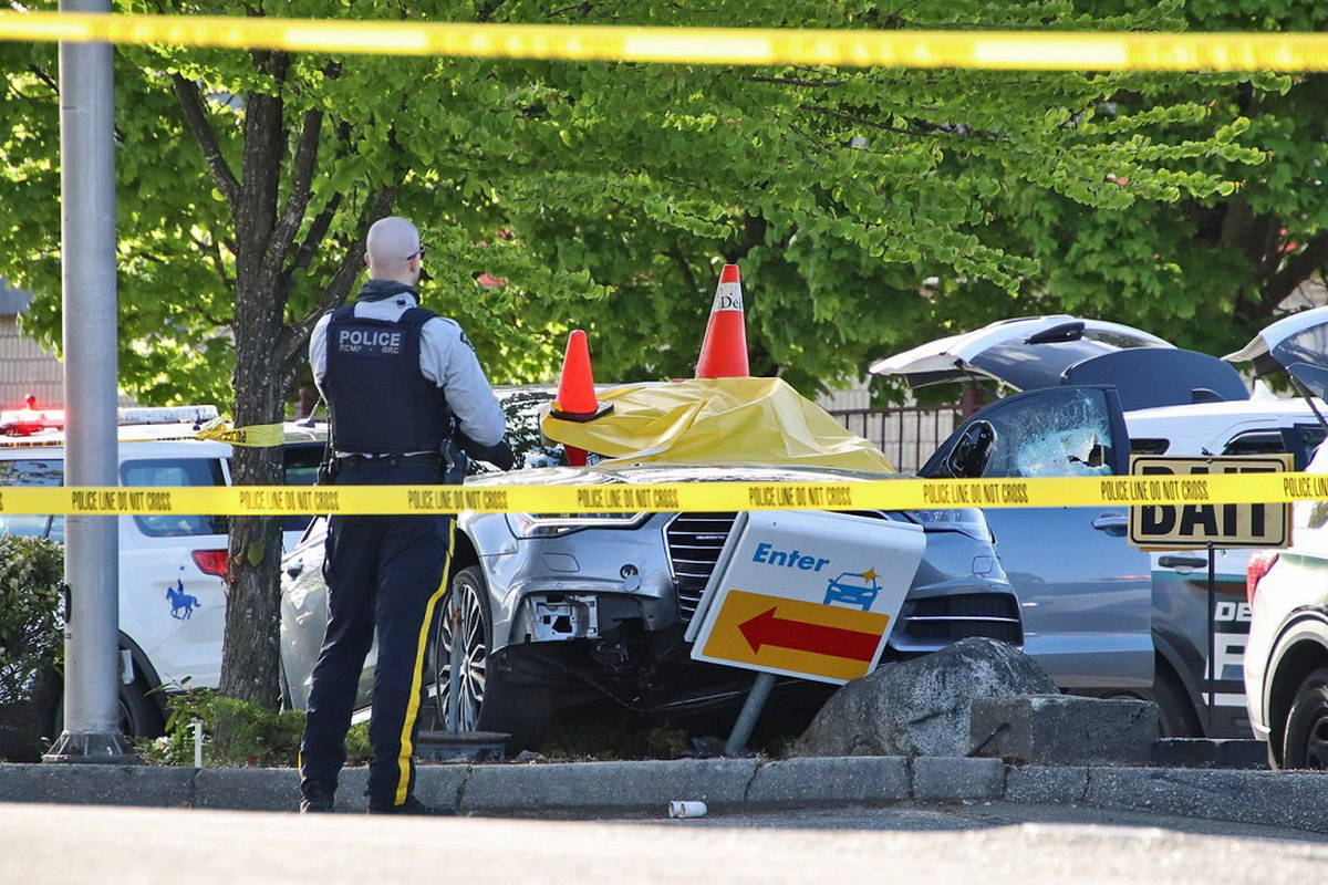 One man has been shot in what Delta Police believe to be a targeted incident near Scottsdale Centre in North Delta on Saturday, May 1, 2021. (Shane MacKichan photo)