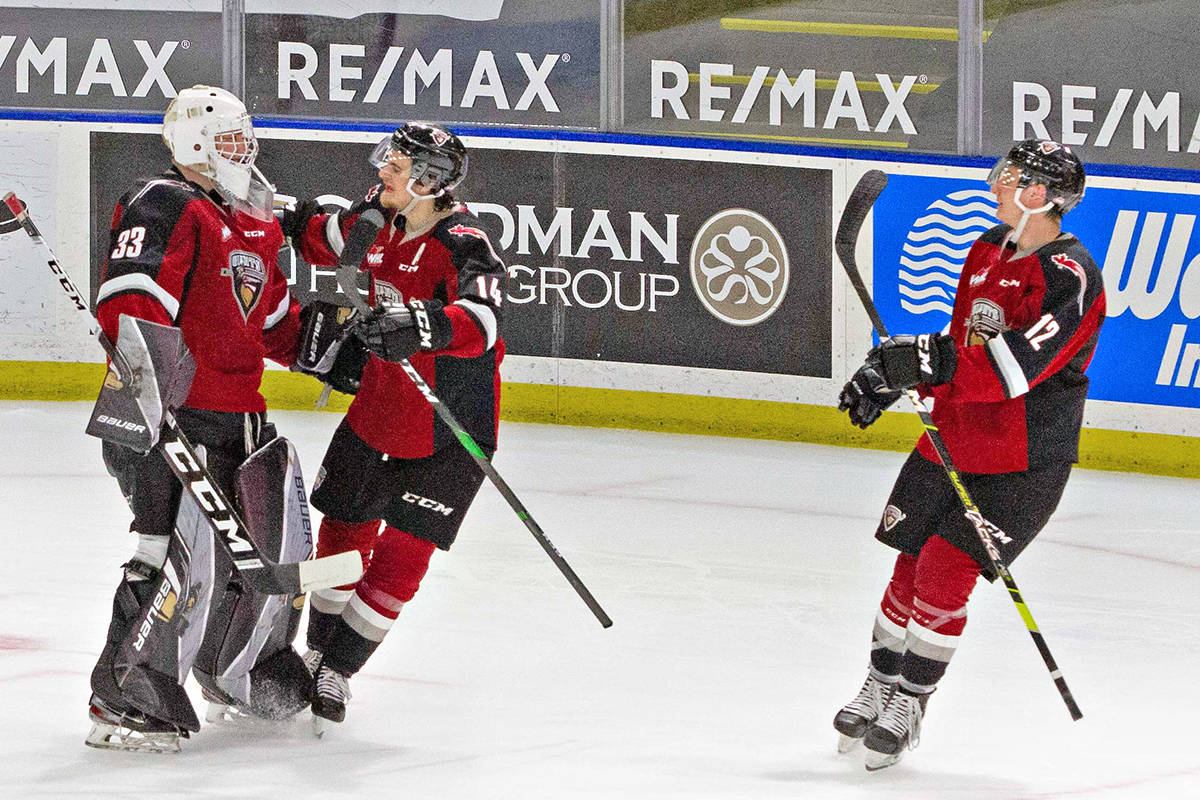 Drew Sim had 15 saves as the Vancouver Giants snapped a four-game winless streak with a 5-4 shootout victory over the Victoria Royals (Paige Bednorz/special to Black Press Media)