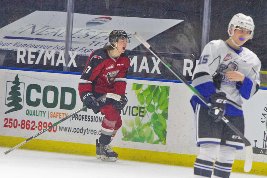 Kaden Kohle pounced on an Alex Kannok Leipert rebound and knocked it past Connor Martin's glove to make the score 4-3 in the second period. Vancouver Giants snapped a four-game winless streak with a 5-4 shootout victory over the Victoria Royals (Paige Bednorz/special to Black Press Media)