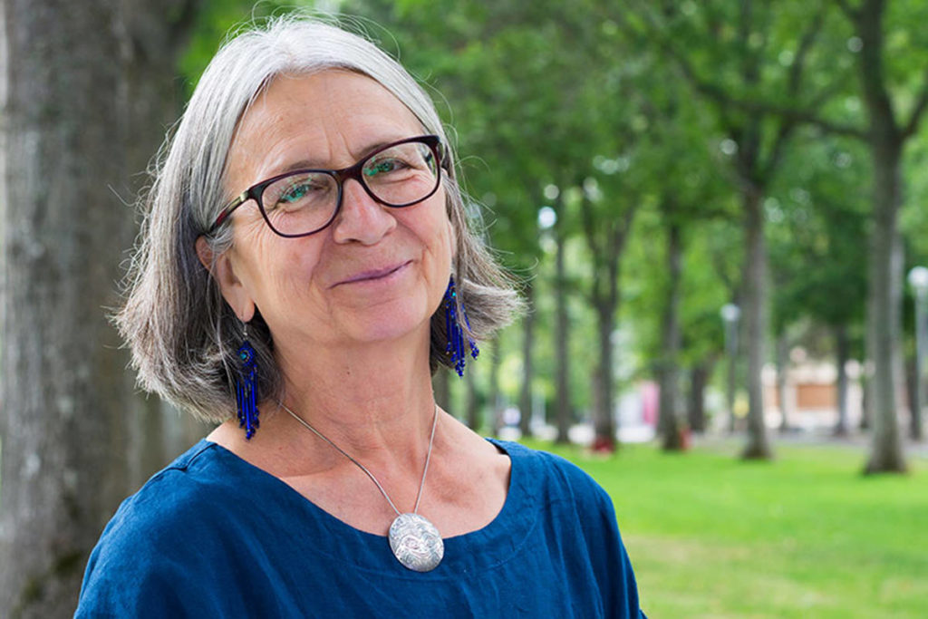 Val Napoleon, who earned her own law degree after becoming a grandmother, is instrumental in supporting the resurgence of Indigenous legal order in Canada. (UVic photo services)