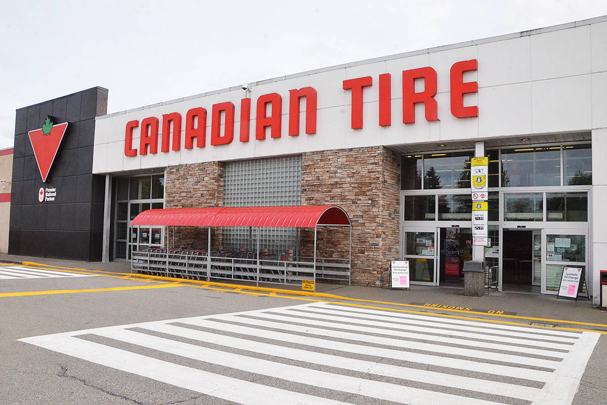 The Canadian Tire in Langley closed due to COVID-19 infections as of Friday. Fraser Health didn't announce the closure until Monday, May 3. (Matthew Claxton/Langley Advance Times)