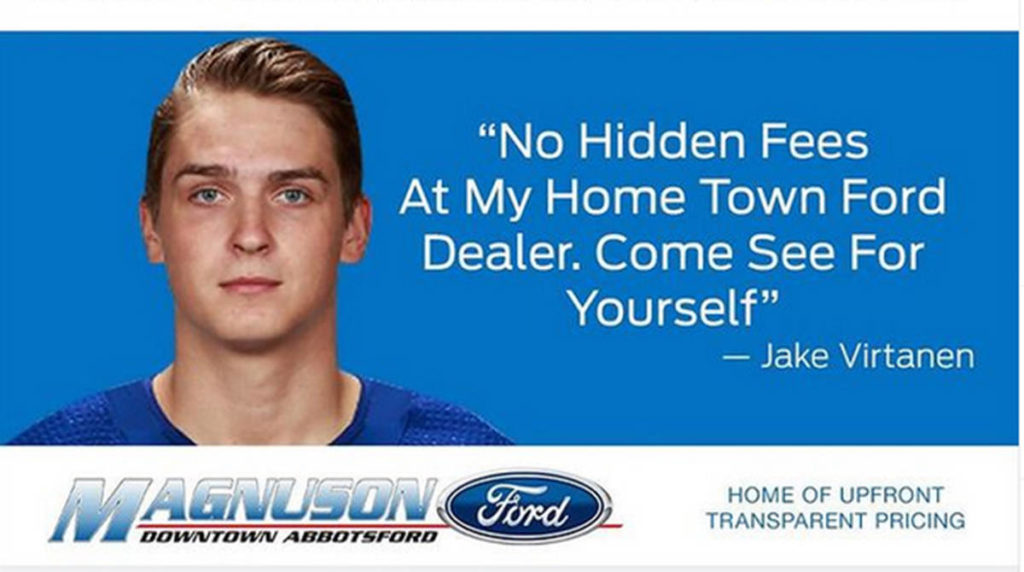 Abbotsford's Magnuson Ford has temporarily ended its relationship with Vancouver Canucks forward Jake Virtanen. (Instagram photo)