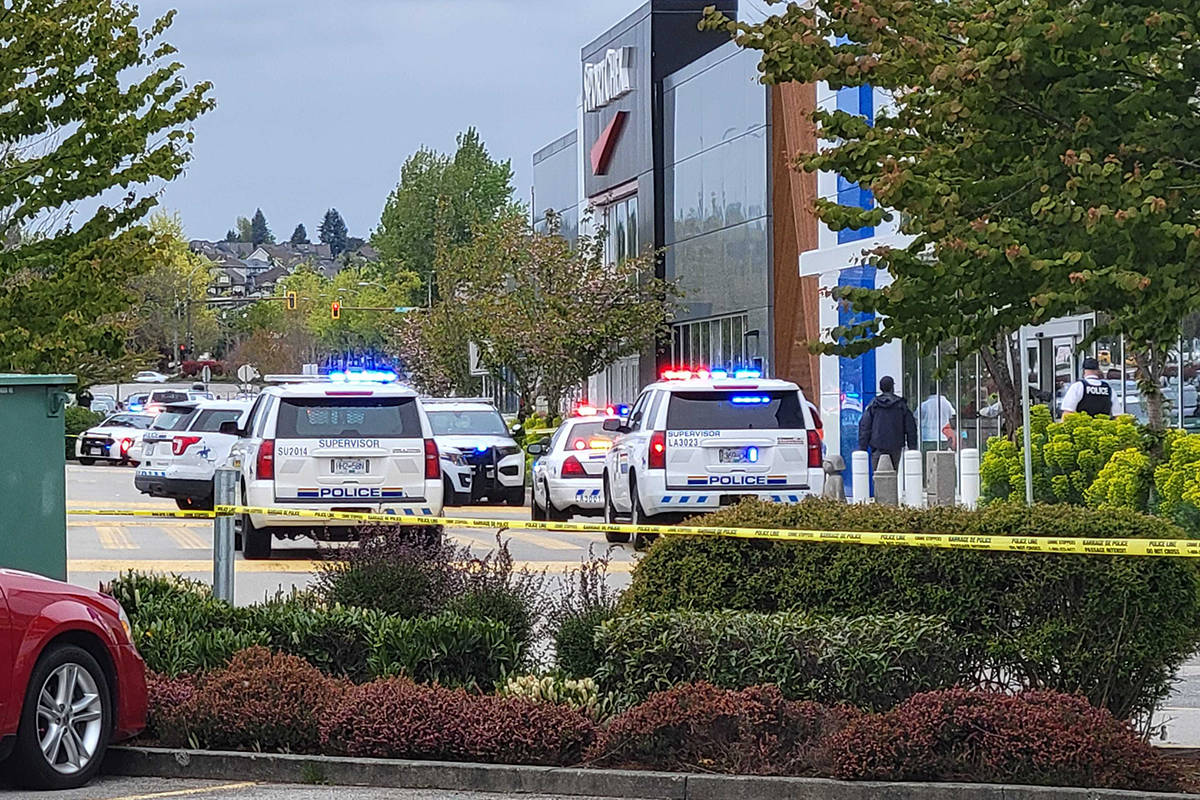 Police were at Willowbrook Shopping Centre where a man was shot Monday, May 3 and is in serious condition. (Dan Ferguson/Langley Advance Times)