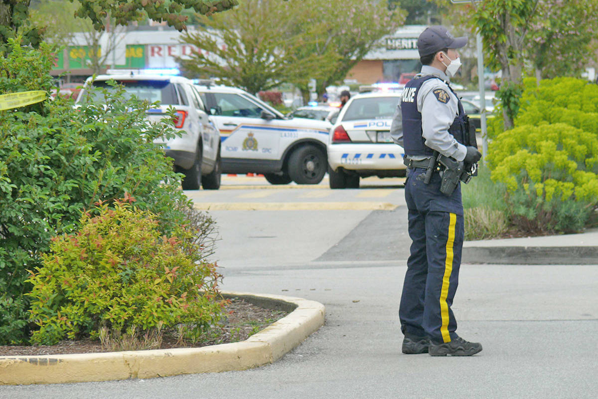 Police are at Willowbrook Shopping Centre where a man was shot Monday, May 3, 2021 (Dan Ferguson/Langley Advance Times)
