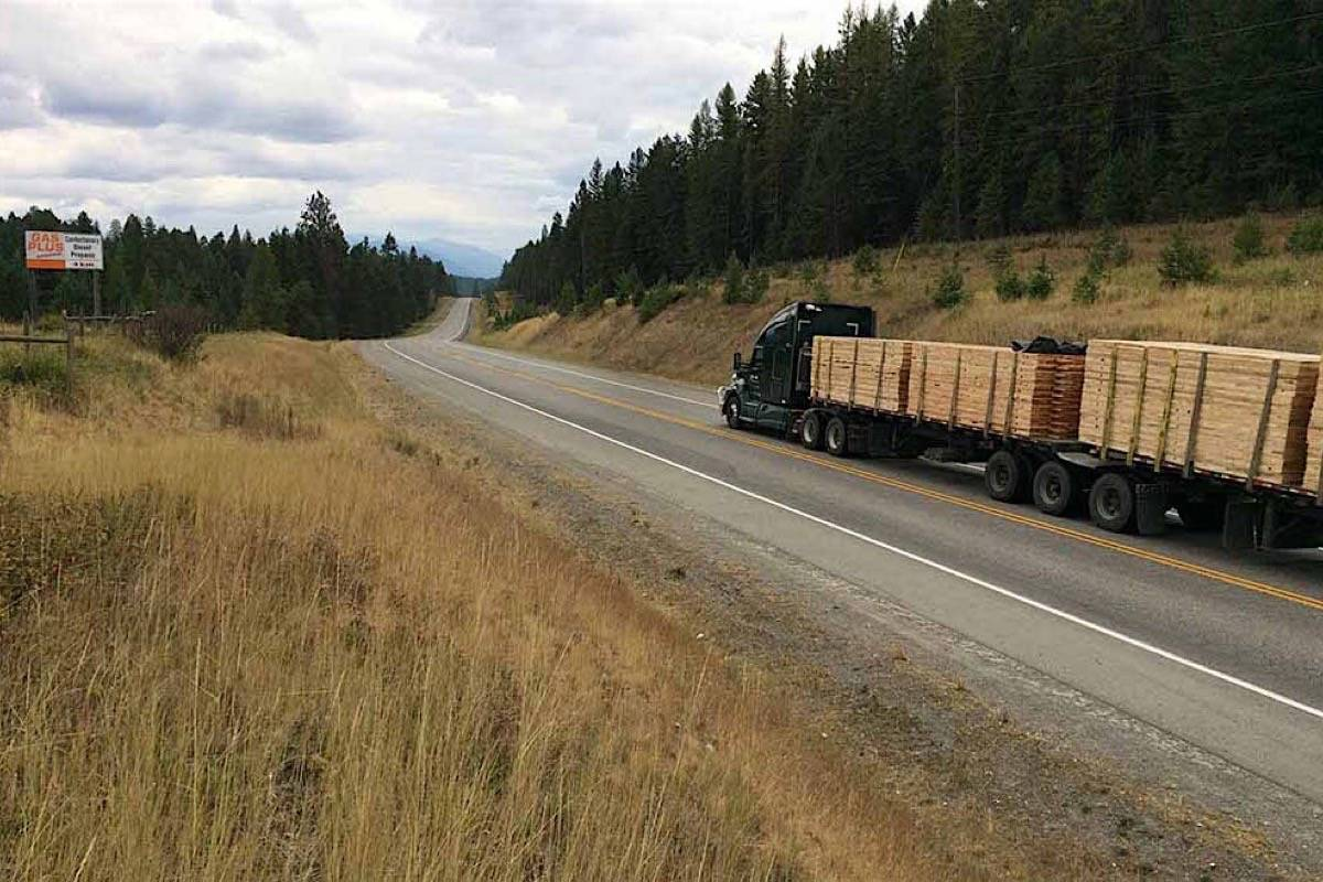 A load of lumber is hauled down Highway 3 in southern B.C., the province that supplies about half of U.S. exports to the U.S. (B.C. government photo)