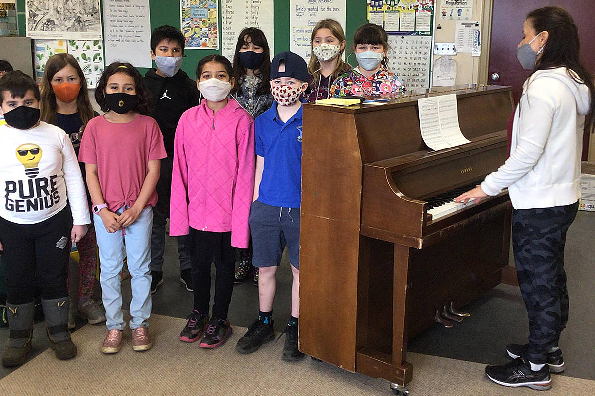 A fundraiser gets underway May 10 to raise $10,000 towards purchasing new pianos for Langley schools, to replace the old instruments like this one at Shortreed Elementary. (Special to Langley Advance Times)