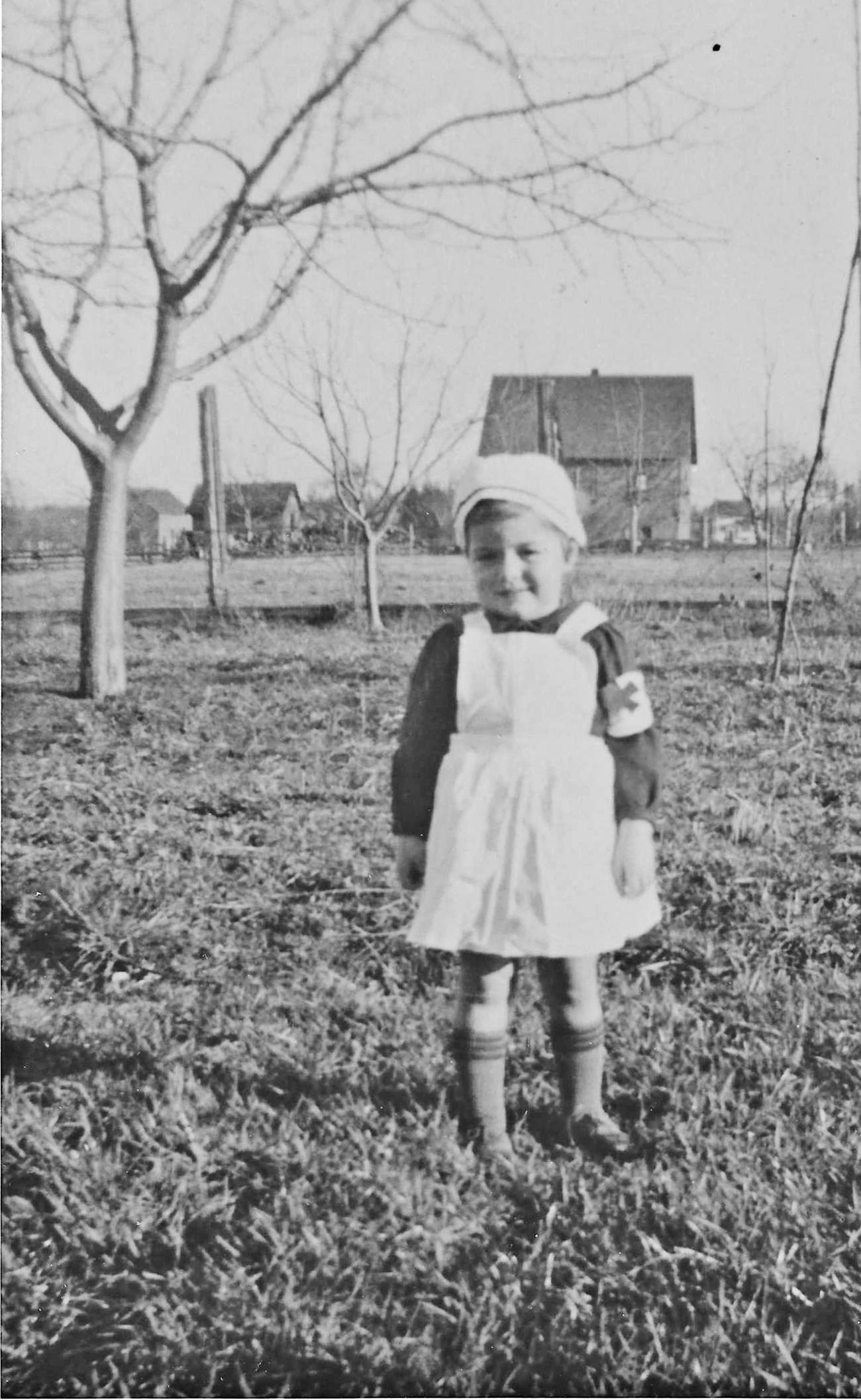 Kay Palmer (née Barichello) was about three when she was photographed in a nurse's outfit on the family home on 48th Avenue. This was approximately five years before Langley's hospital opened. Palmer worked as a nurse at the hospital for many years. (Palmer family/Special to the Langley Advance Times)