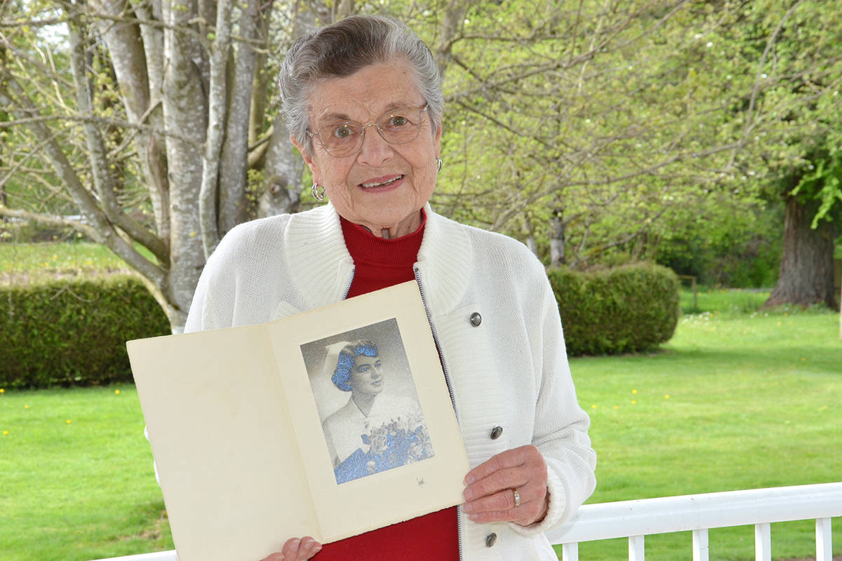 Kay Palmer still has the graduation photo from when she became a nurse. She worked for many years at Langley Memorial Hospital starting in 1960. (Heather Colpitts/Langley Advance Times)