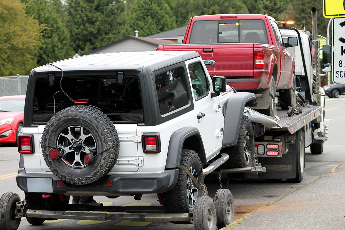 RCMP were called to collision in the area of 200th Street and 44th Avenue on Tuesday, May 4, 2021 around 4:30 p.m. (Anngela Bayer/Special to Langley Advance Times)