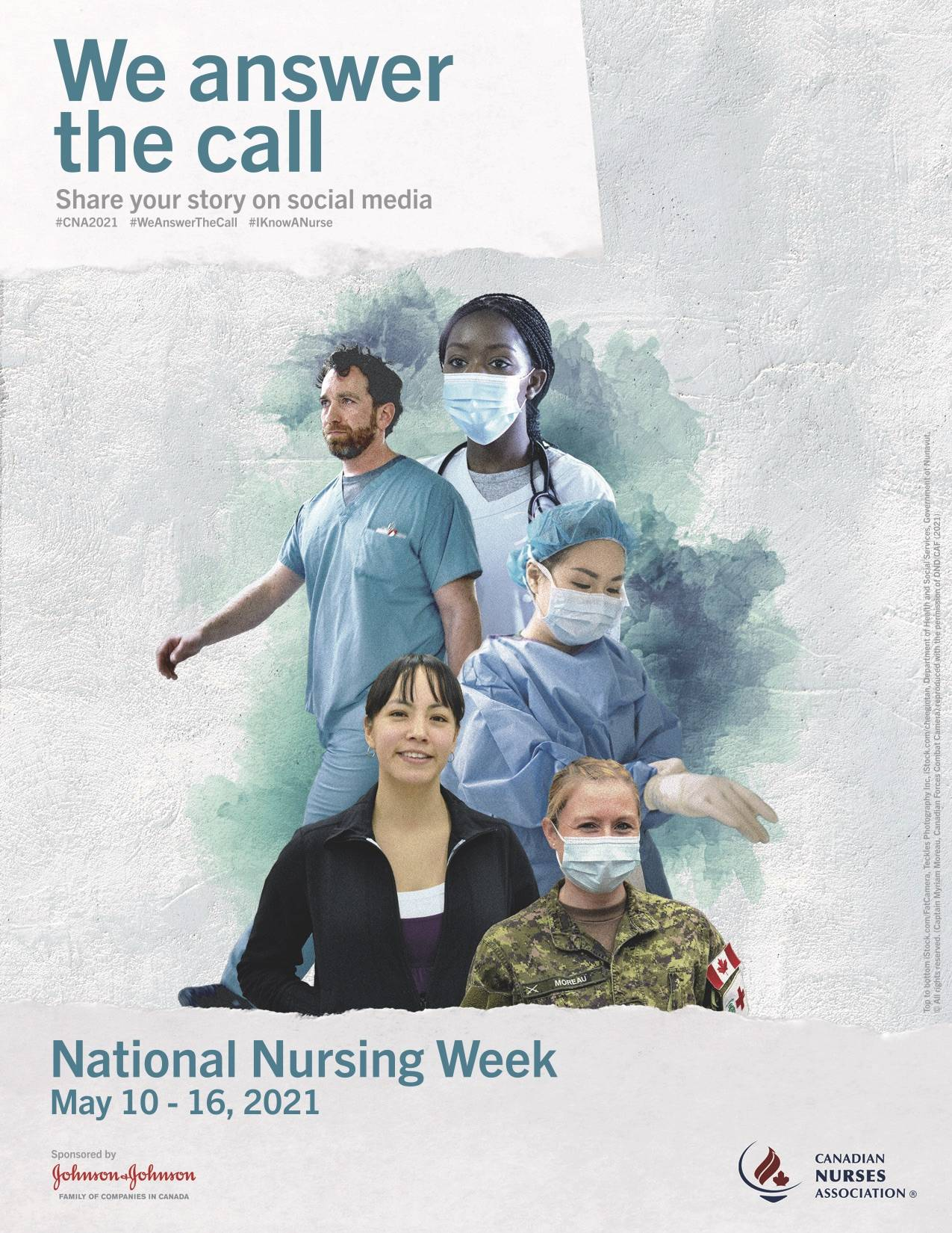 National Nursing Week is May 10 to 16, 2021. To commemorate the week, the public is asked to share their photos and stories online using #CNA2021, #WeAnswerTheCall, #IKnowANurse, and #NationalNursingWeek. (Canadian Nursing Association)