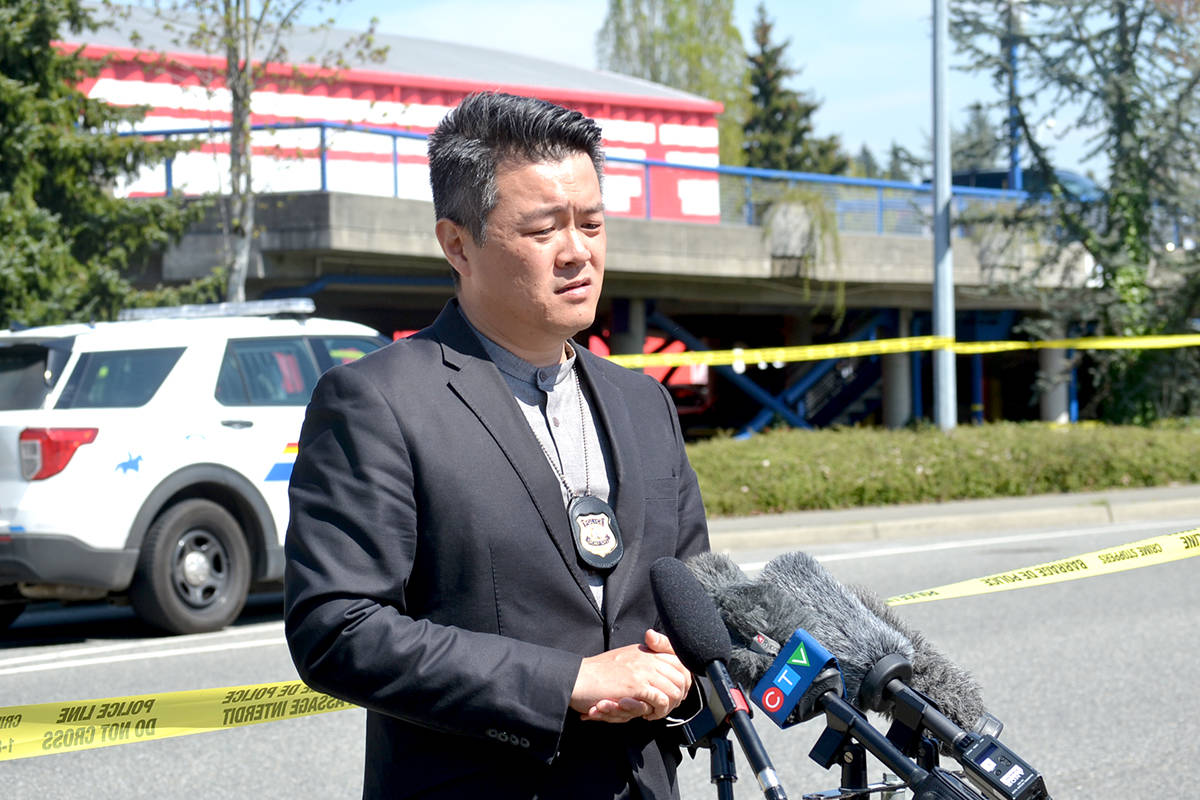 Integrated Homicide Investigation Team Sgt. Frank Jang said outside of Langley Sportsplex at 91a Ave and 200 Street after a man was fatally shot in April 2021. (Black Press Media file)