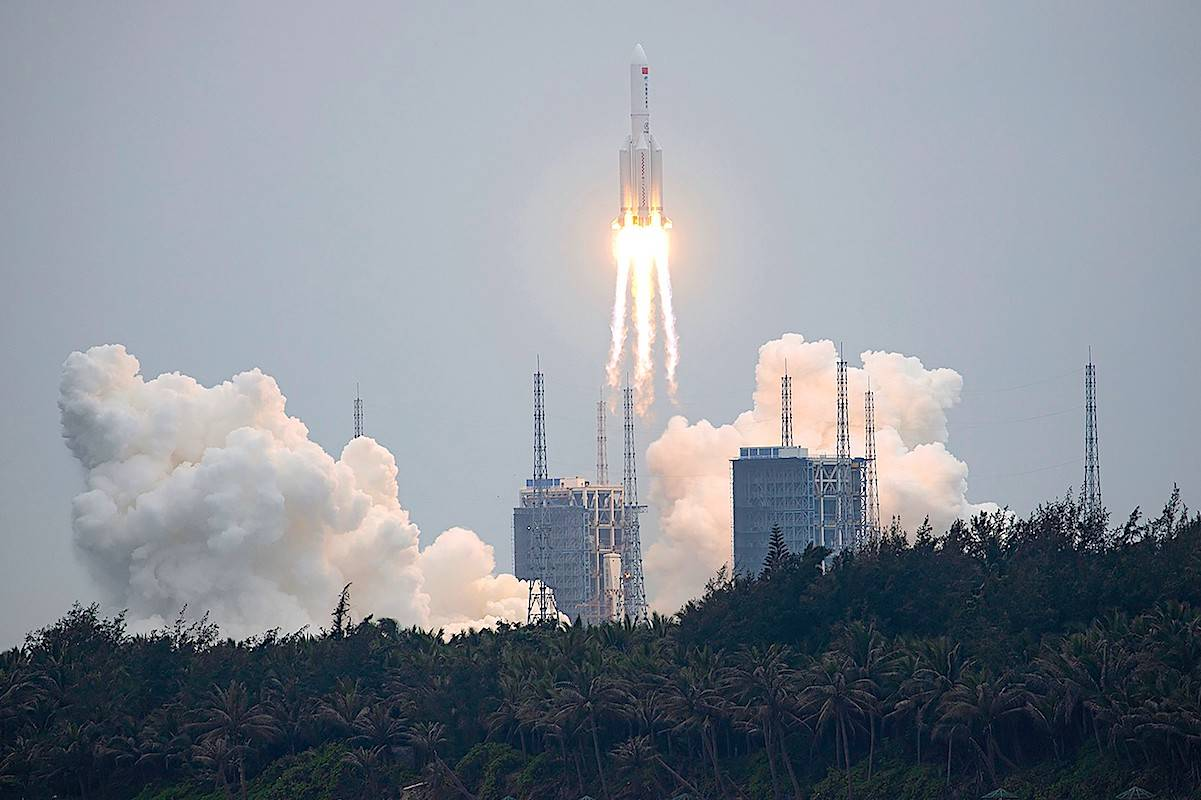 A Long March 5B rocket carrying a module for a Chinese space station lifted off from the Wenchang Spacecraft Launch Site in Wenchang in southern China on April 29. (Chinatopix via AP)