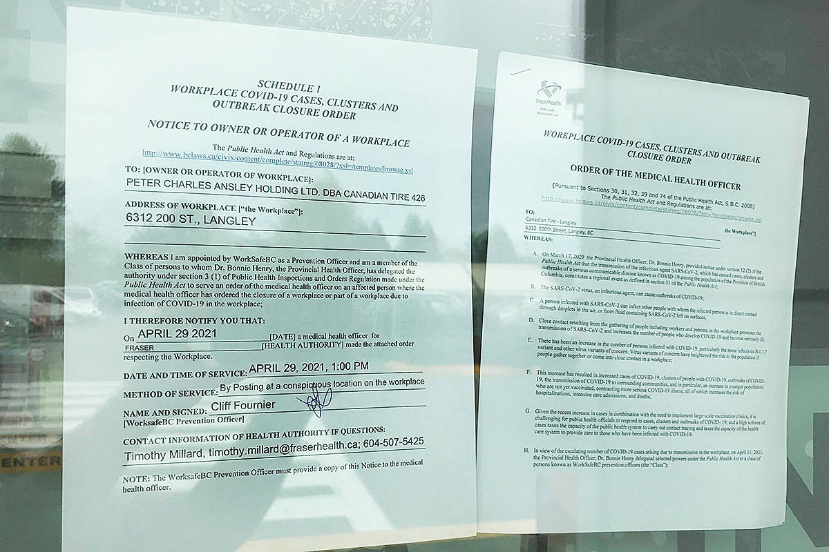 A Worksafe BC temporary closure order posted on the front entrance of the Langley Canadian Tire on Thursday, April 29. (Matthew Claxton/Langley Advance Times)
