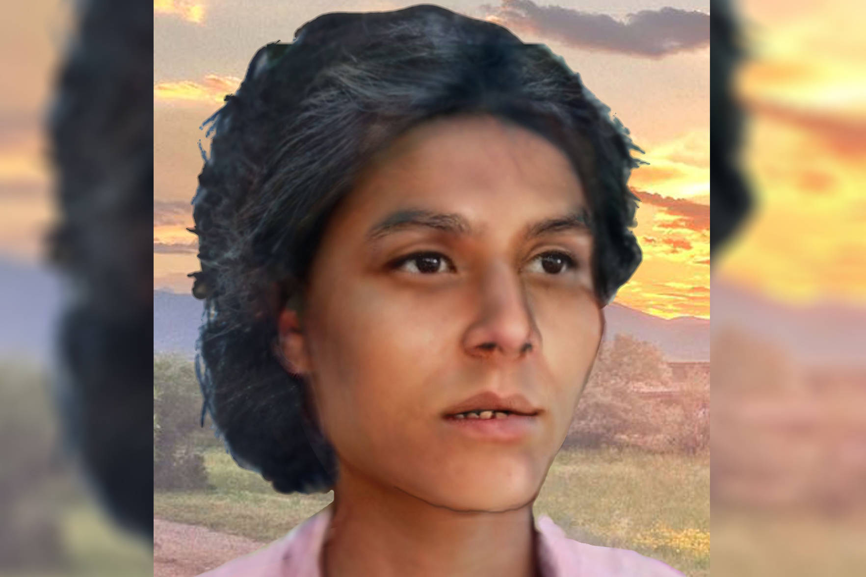 A picture of Shirley Ann Soosay was rendered from a postmortem photographer and circulated on social media. (DDP graphic)