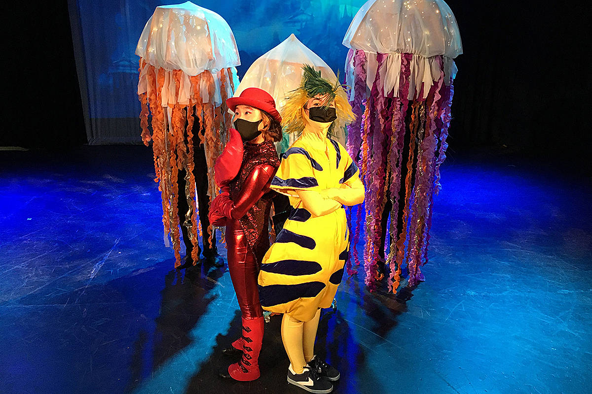 """It's sad, said Raiza Uera, who plays Ariel, that the students don't get to experience all the little things that happen back stage in live theatre. But the bonus is, they all stay safe """"so this virus can go away,"""" added performer Katelyn Smyrski. (Special to Langley Advance Times)"""