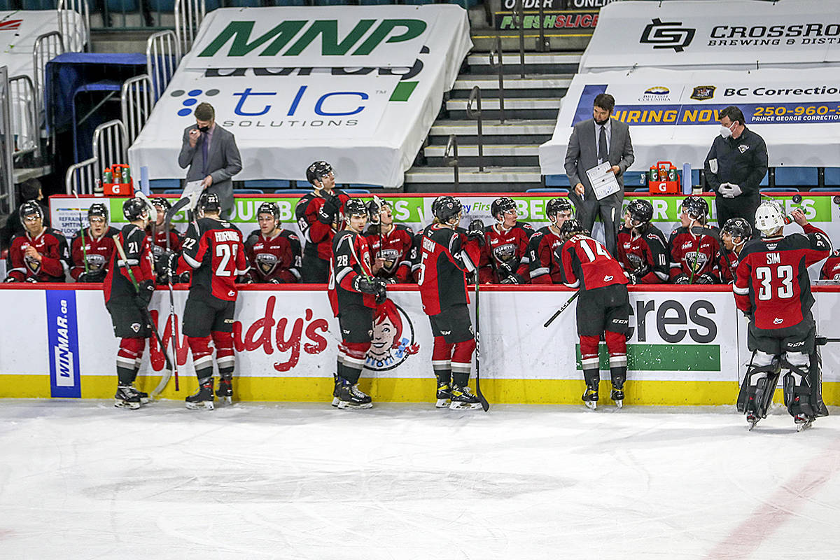 Giants fell 3-0 to the Prince George Cougars in Kamloops on Wednesday night. They have three games left in the regular season, with no playoffs or championships planned due to COVID. (Allen Douglas/Special to Black Press Media)