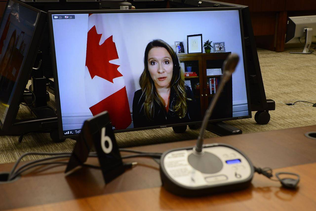 Katie Telford, Chief of Staff to the Prime Minister, appears as a witness via videoconference during a House of Commons finance committee in Ottawa. THE CANADIAN PRESS/Sean Kilpatrick