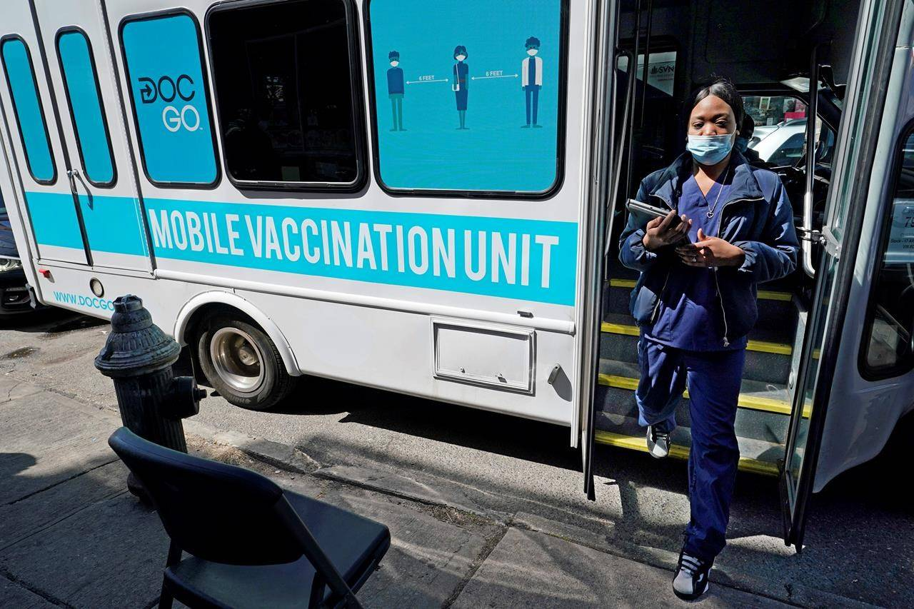 New York City hopes to begin offering coronavirus inoculations to tourists by stationing vaccination vans in Times Square and other visitor-heavy spots. (AP Photo/Kathy Willens)