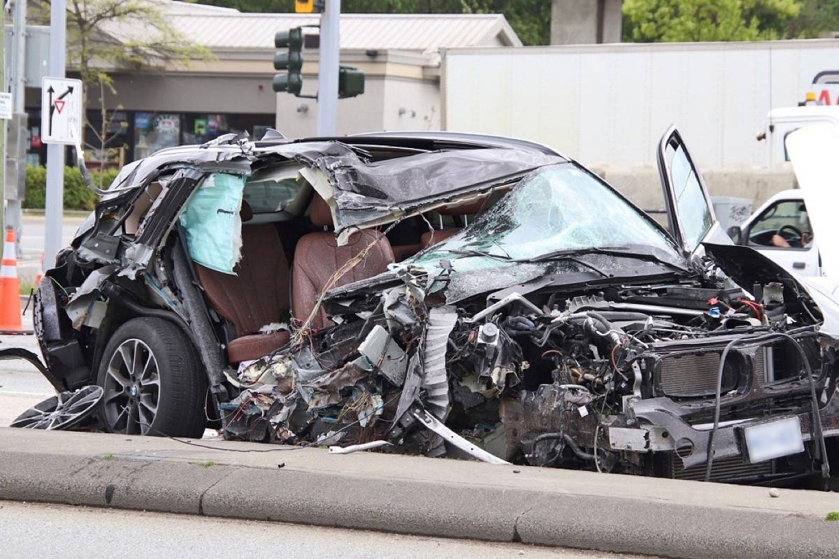Surrey RCMP is investigating after a serious three-vehicle crash at the intersection of King George Boulevard and 128th Street Thursday afternoon (May 6, 2021). (Photo: Shane MacKichan)