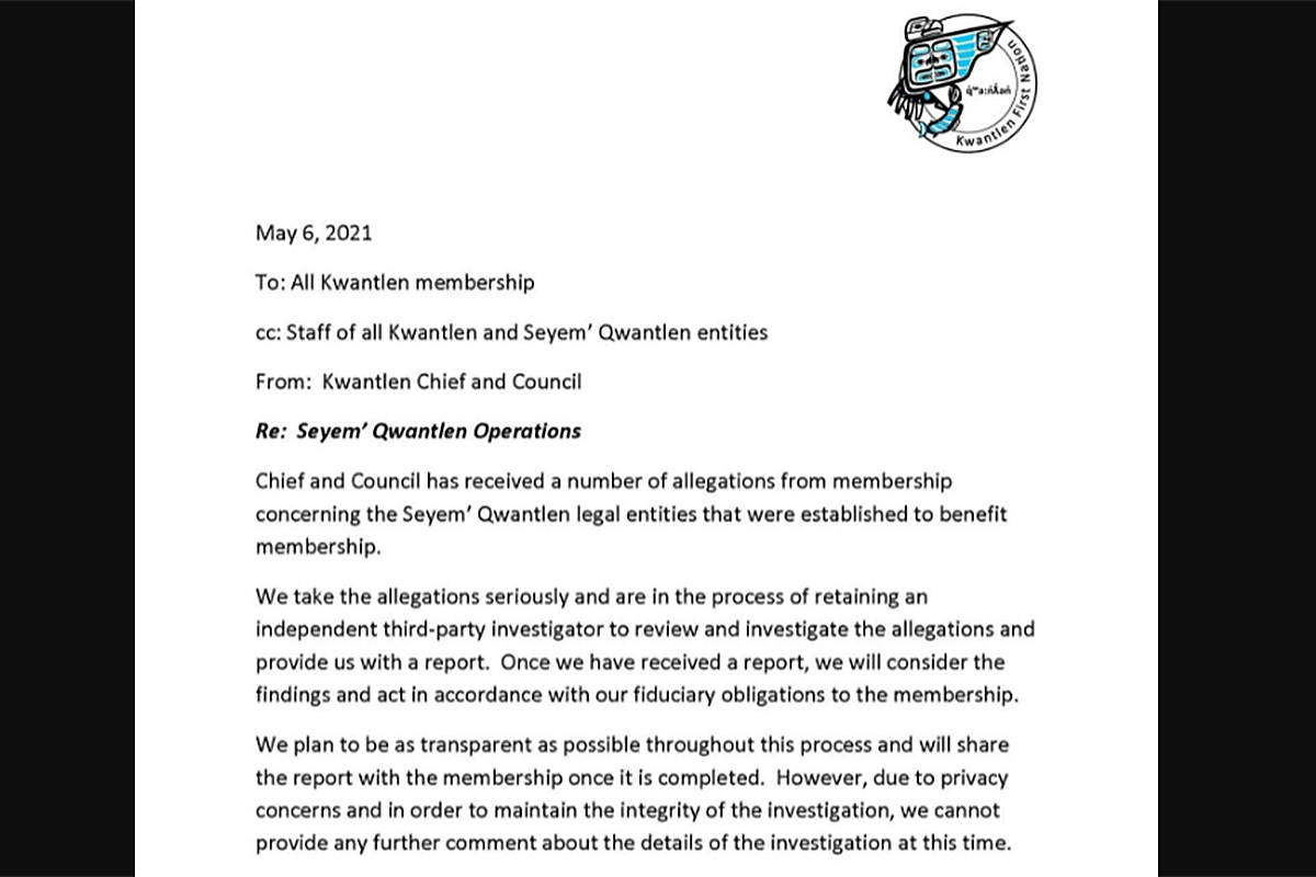 This letter was sent to members of the Kwantlen First Nation on Thursday, March 6, about allegations regarding some of the nation's businesses enterprises. (Special to the Langley Advance Times)
