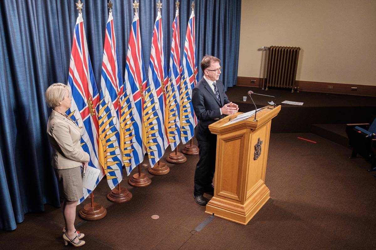 Provincial health officer Dr. Bonnie Henry and Health Minister Adrian Dix update B.C.'s COVID-19 situation at the B.C. legislature, April 29, 2021. (B.C. government)